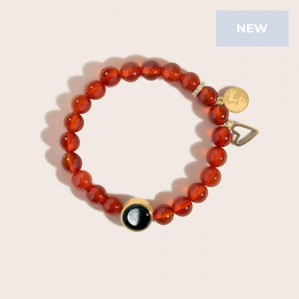Brilliant Blush Jade Bracelet in Gold
